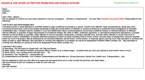 Probation And Parole Officer Cover Letter by Probation And Parole Officer Offer Letters