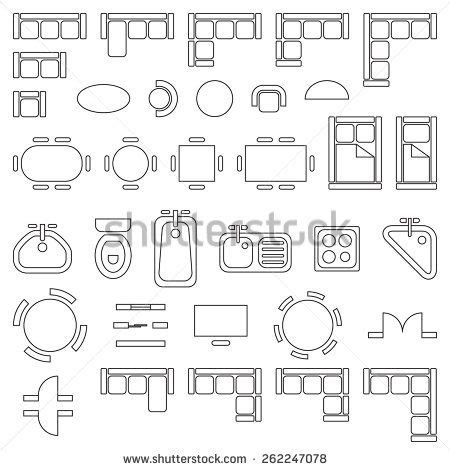 Furniture Icons For Floor Plans | standard furniture symbols used in architecture plans