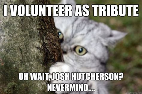I Volunteer As Tribute Meme - i volunteer as tribute oh wait josh hutcherson nevermind