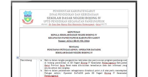 contoh surat tugas sk operator untuk pendaftaran di sdm pdsp