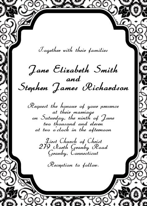 wedding invitations templates free for word black wedding invitation templates free
