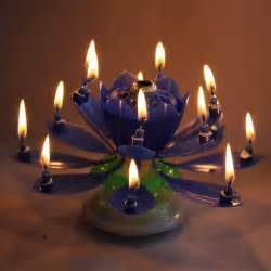 Lotus Candle Birthday 2015 New Navy Blue Rotatable Beautiful Musical Blossom