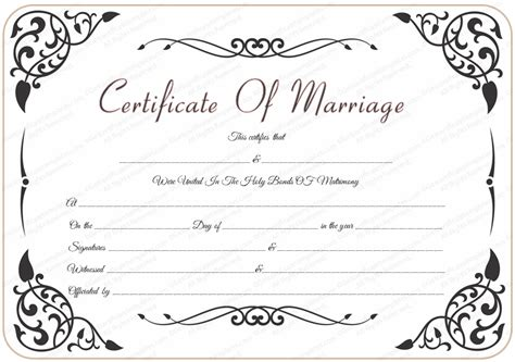 marriage certificate templates free wedding certificate template with traditional swirls