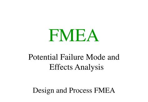fmea potential failure mode and effects analysis ppt ppt fmea powerpoint presentation id 640036