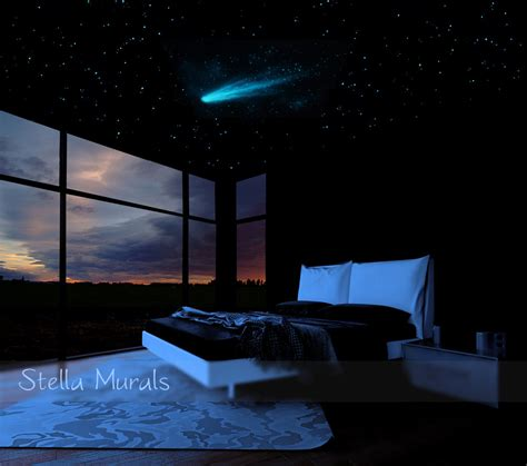 night stars bedroom l star ceiling comet and shooting stars decals 200 1000