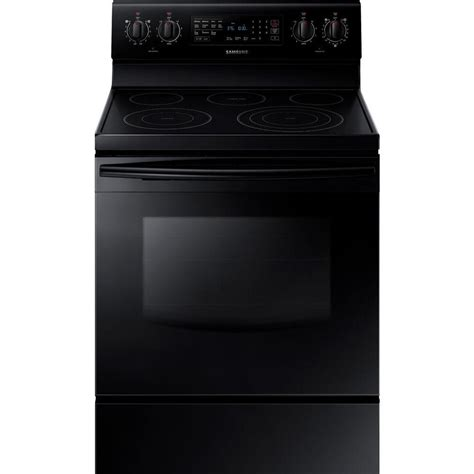 samsung 30 in 5 9 cu ft electric range with self cleaning convection oven in black