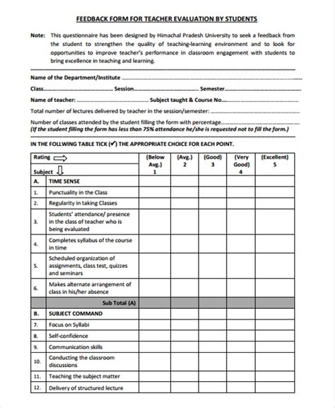 teaching feedback form template 10 student feedback forms sle templates
