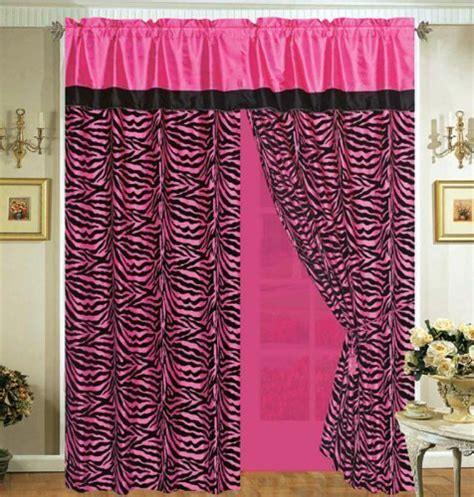 black and hot pink curtains 4 pieces faux silk hot pink with black zebra window