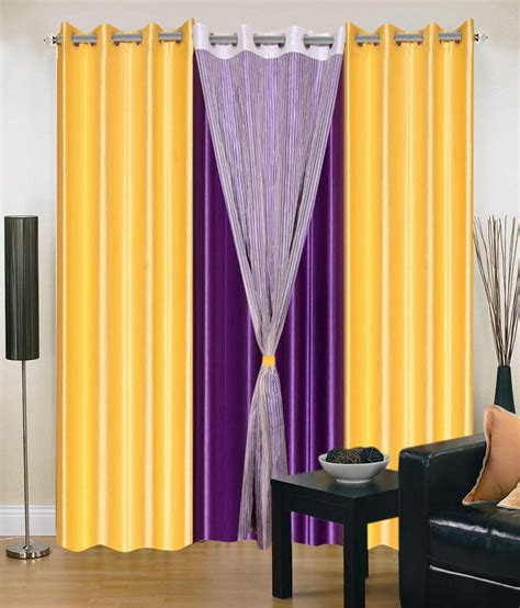 yellow and purple curtains madhav product set of 4 door eyelet curtains solid yellow