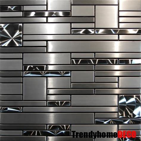 stainless steel tiles for kitchen backsplash sle stainless steel metal pattern mosaic tile kitchen backsplash wall sink ebay