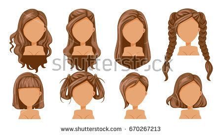 long hairstyles cartoon hairstyle stock images royalty free images vectors