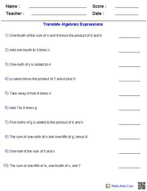 Expressions And Equations Worksheets by Algebra 1 Worksheets Dynamically Created Algebra 1