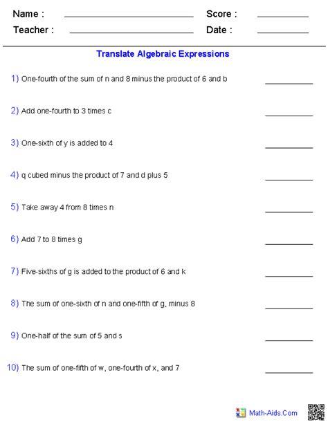 Algebraic Expression Worksheets by Algebra 1 Worksheets Basics For Algebra 1 Worksheets
