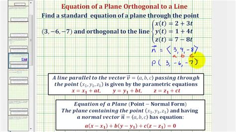Why Do All Aircrfats Form Jro Stop In Mba by Ex Find The Equation Of A Plane Given An Orthogonal Line