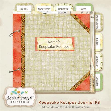 elr printable recipe journal my keepsake recipes 8 x 8 printable journal kit editable