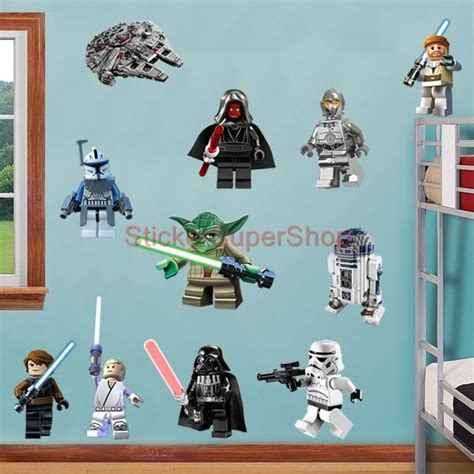 wars wall sticker lego wars 11 characters decal removable wall sticker home decor obi wan ebay