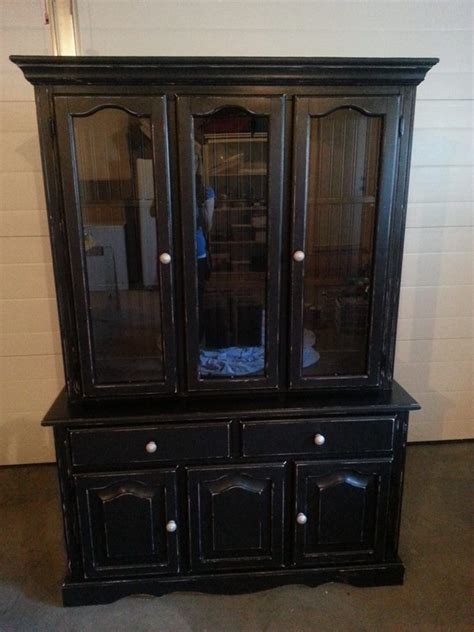distressed nickel cabinet hardware custom painted china cabinet in black distressed and