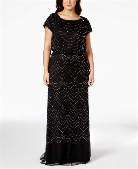 cap sleeve beaded sequined gown papell plus size cap sleeve beaded sequin gown in