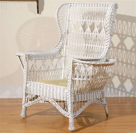 Antique Wicker Chairs by Antique American Wicker Wing Chair With Magazine Pocket At