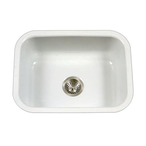 White Porcelain Kitchen Sinks Undermount Houzer Porcela Series Undermount Porcelain Enamel Steel 23 In Single Basin Kitchen Sink In