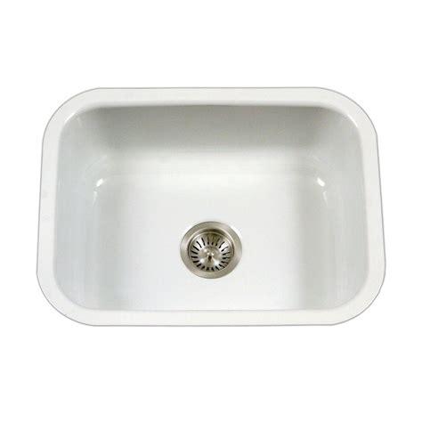 White Porcelain Undermount Kitchen Sink Houzer Porcela Series Undermount Porcelain Enamel Steel 23 In Single Basin Kitchen Sink In