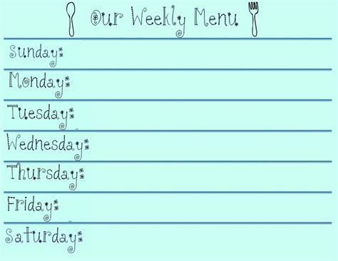 monthly food menu template meal and budget planning printables