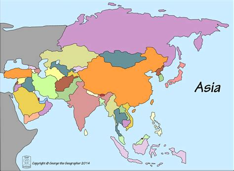 asia map with country names outline base maps