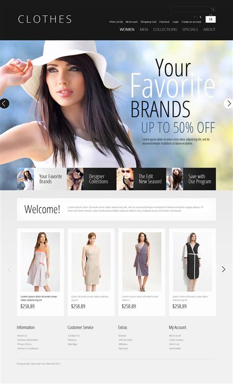 opencart themes clothing casual clothes opencart template web design templates