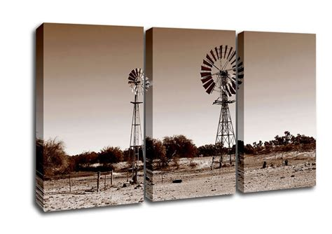 australian windmills sepia landscape 3 panel canvas 3