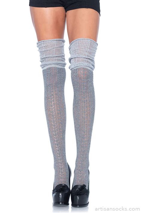 knit thigh high socks pointelle knit thigh high socks with scrunch top gray