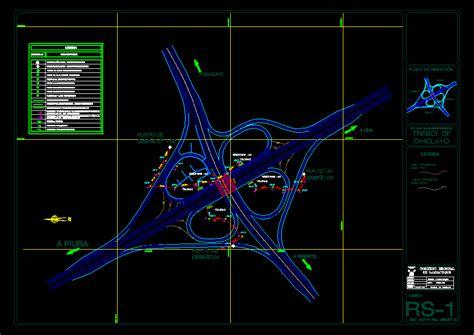camino dwg planos de plano vial trebol en dwg autocad carreteras