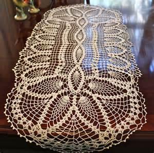 vintage oblong white cotton crocheted table runner doily