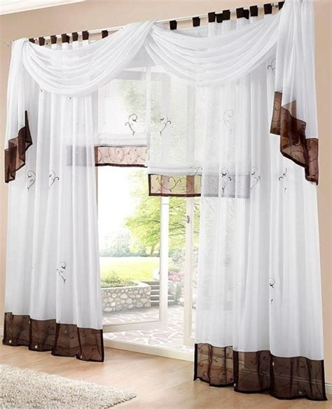 gardinen modern 1 st gardine vorhang 140 x 145 wei 223 braun schlaufen schal