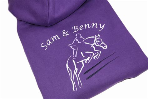 adults horse show jumping personalised embroidered hoodie