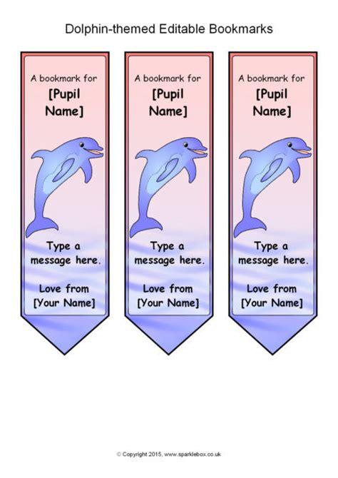 printable bookmarks sparklebox dolphin themed editable bookmark templates sb11071
