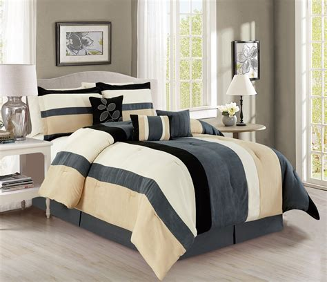 7 piece stripe micro suede gray black ivory comforter set