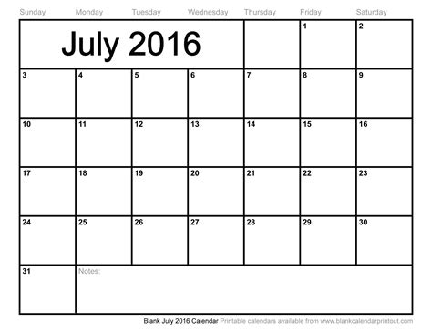 Blank Calendar To Print Blank July 2016 Calendar To Print Chainimage
