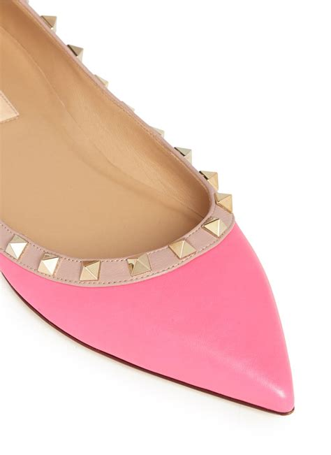 Cayona Leather Flat Pink lyst valentino rockstud leather flats in pink
