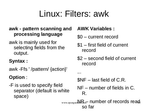 awk pattern variables opengurukul operating system linux