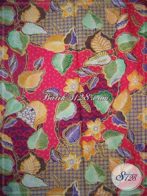 Batik Katun Motif Daun Pejabat jual bahan batik motif daun dan bunga warna merah trend