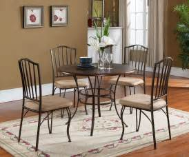 metal dining room set 5 pc set kings brand round wood metal dining room kitchen table and 4 chairs ebay
