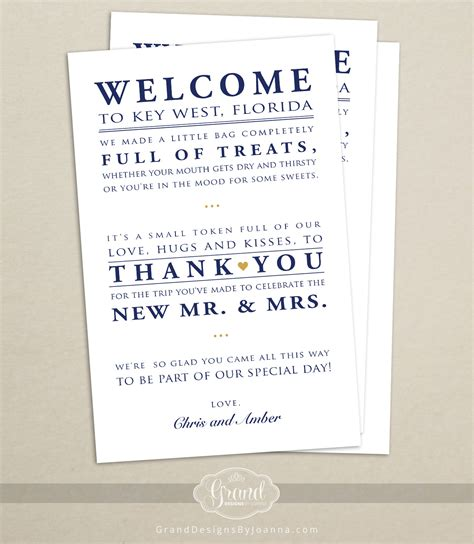 Thank You Letter Destination Wedding Wedding Hotel Welcome Bag Letter Wedding Welcome Bag Note