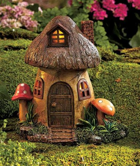 gnome house solar lighted fairy garden gnome home houses mushroom farmhouse toadstool new ebay
