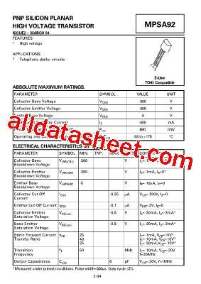 Mpsa92 Mpsa 92 mpsa92 datasheet pdf zetex semiconductors
