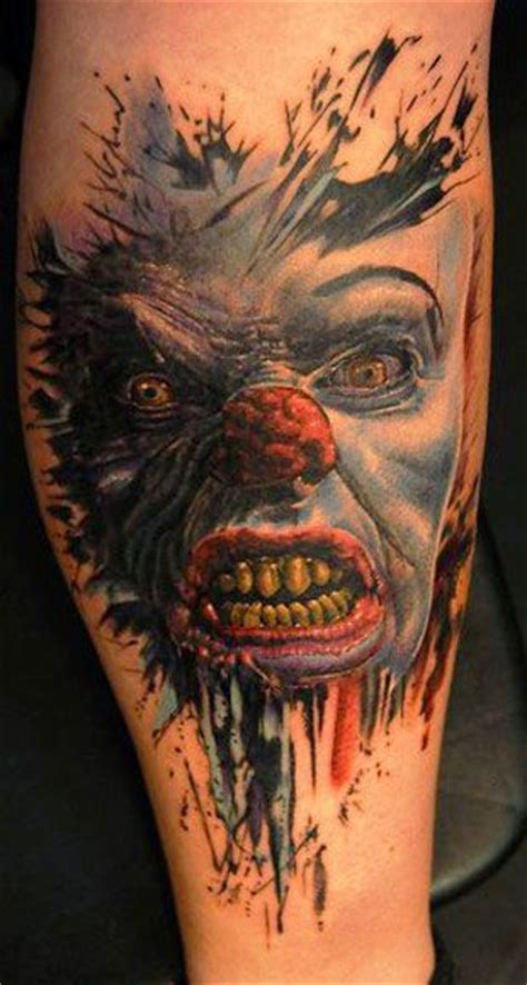 scary clown tattoos artist andy engel clown horror tattoos