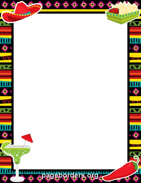 Printable fiesta border. Use the border in Microsoft Word or other programs for creating flyers