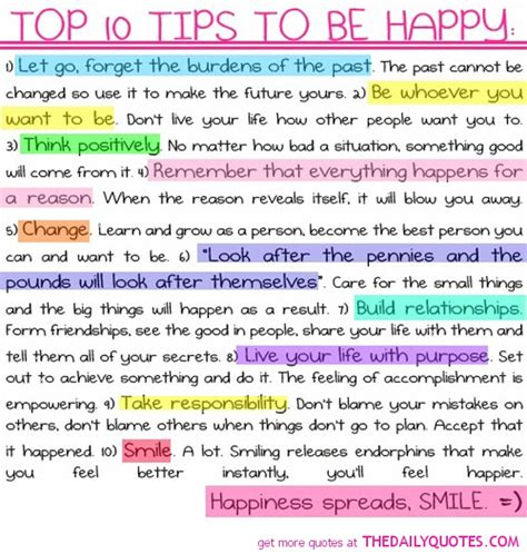 life tips top 10 tips to be happy the daily quotes
