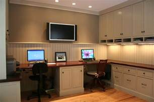 Home Office With Two Desks 2 Person Desk Without A Peninsula Home Office 2 Person Desk Desks And Home Office