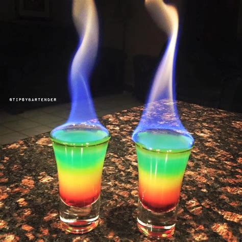 blue cocktails flaming rainbows grenadine orange juice vodka club soda
