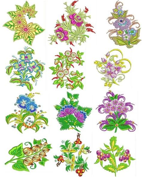 Set Flower 4 flowers set 4 machine embroidery designs embroidery